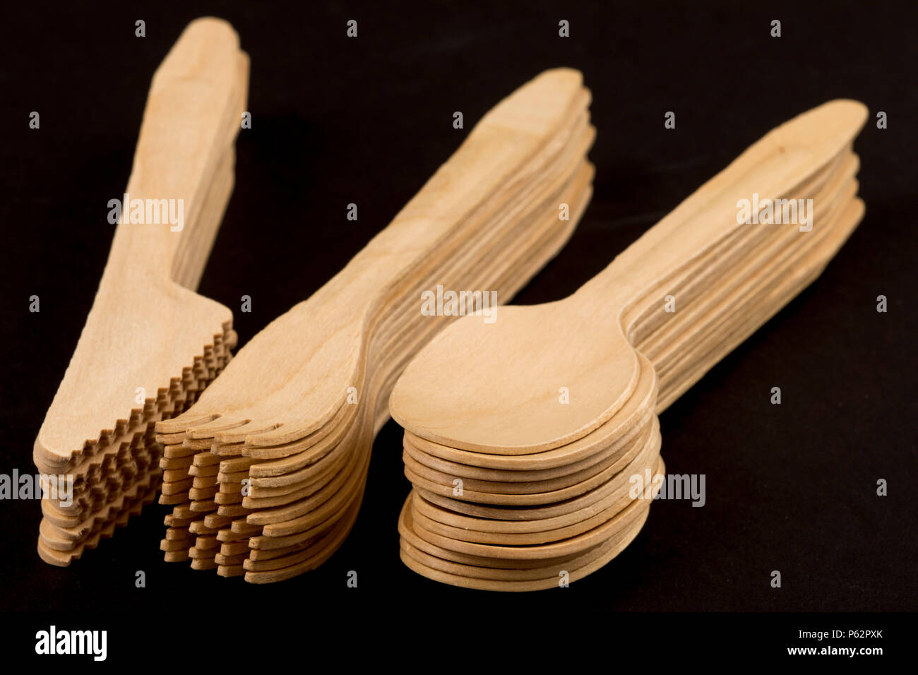 Disposable cutlery made of wood, recyclable, - Stock Image