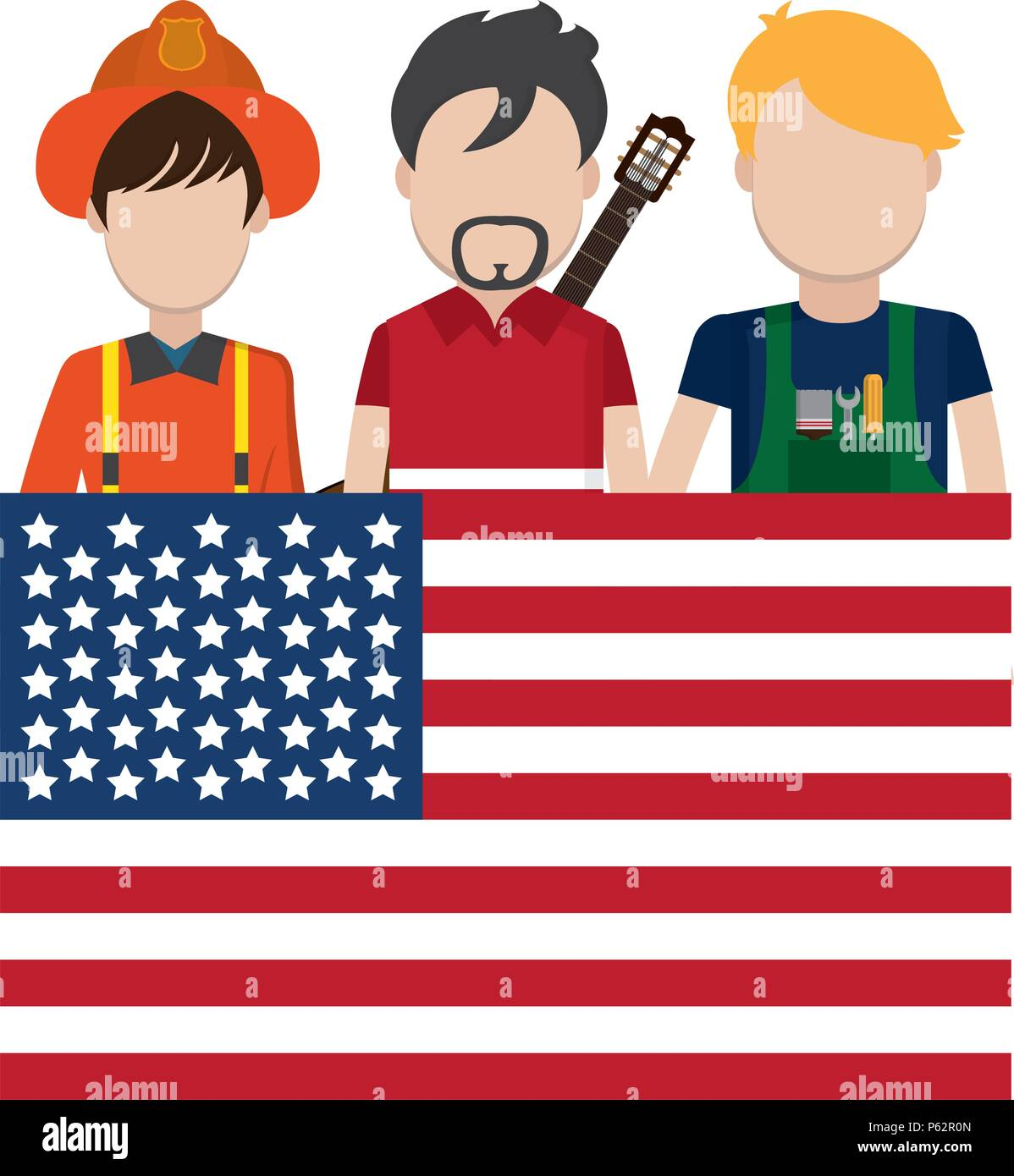 professional people careers with usa flag vector illustration - Stock Image