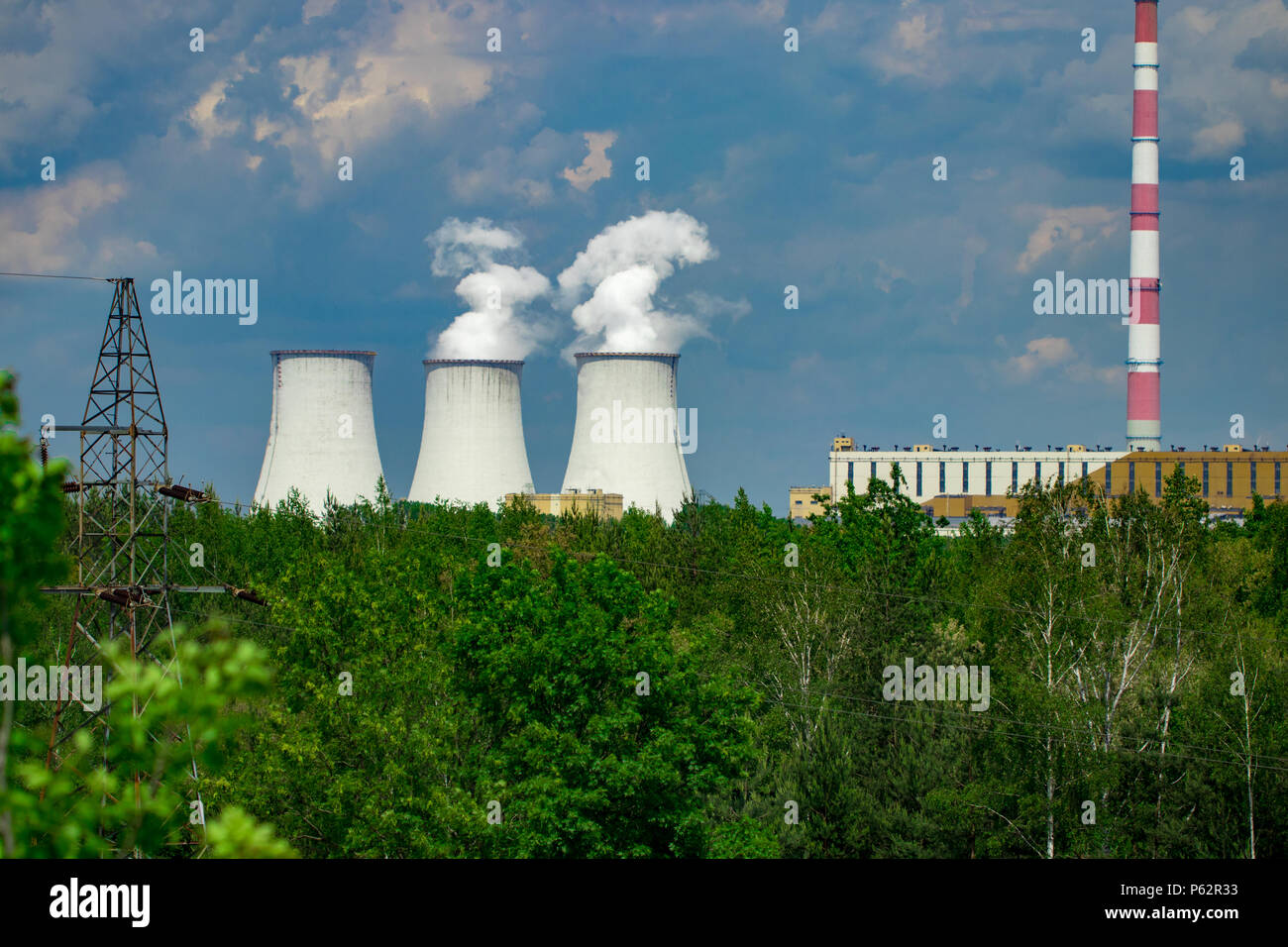 Cooling tower of nuclear power plant Poland. - Stock Image