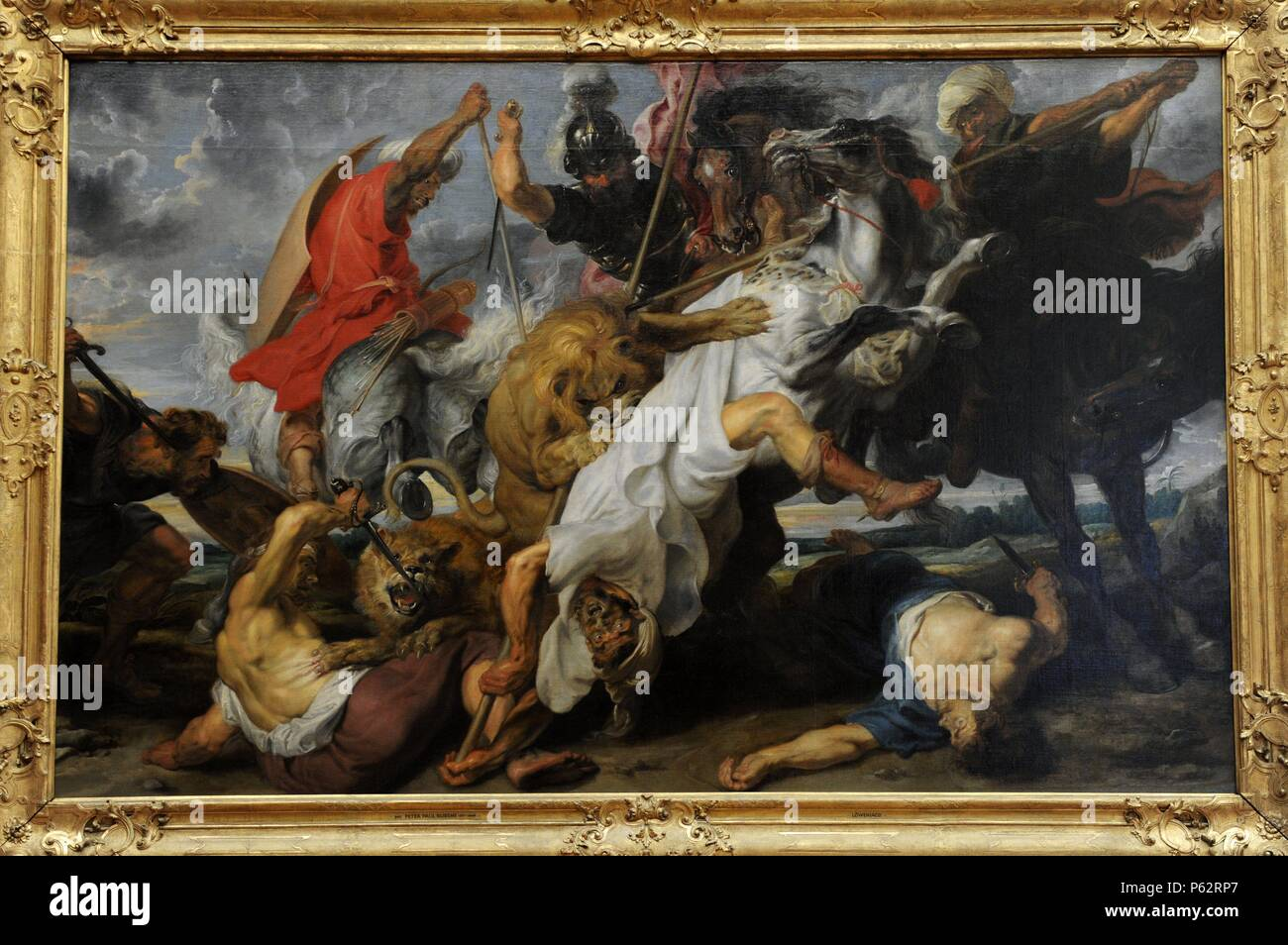 Peter Paul Rubens (1577-1640). Was a German-born Flemish Baroque painter.  Lion Hunt, 1621. Baroque style. Alte Pinakothek. Munich. Germany.