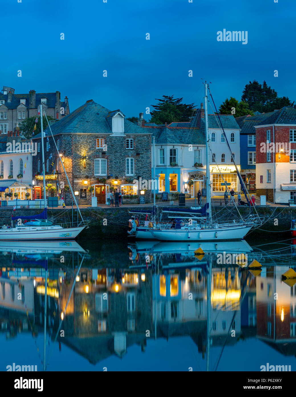 Twilight over harbor village of Padstow, Cornwall, England - Stock Image