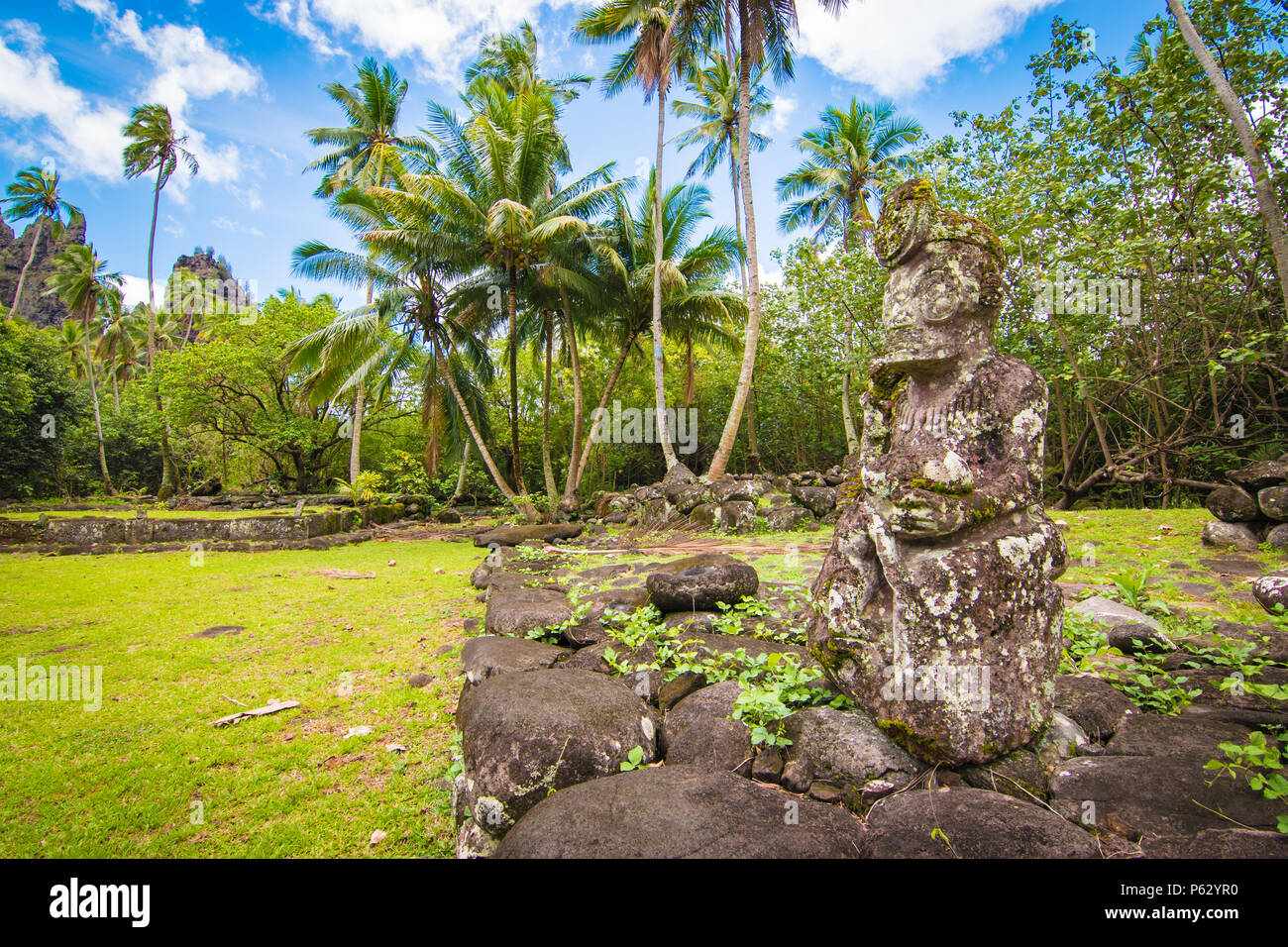 Sculpture At Hikokua Archeological Site, Nuku Hiva, Marquesas Archipelago, French Polynesia - Stock Image