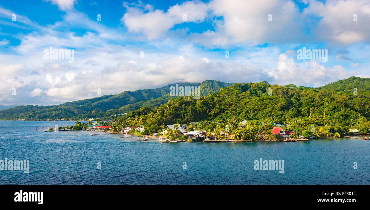 Panoramic landscape of Raiatea, Society Islands, French Polynesia - Stock Image