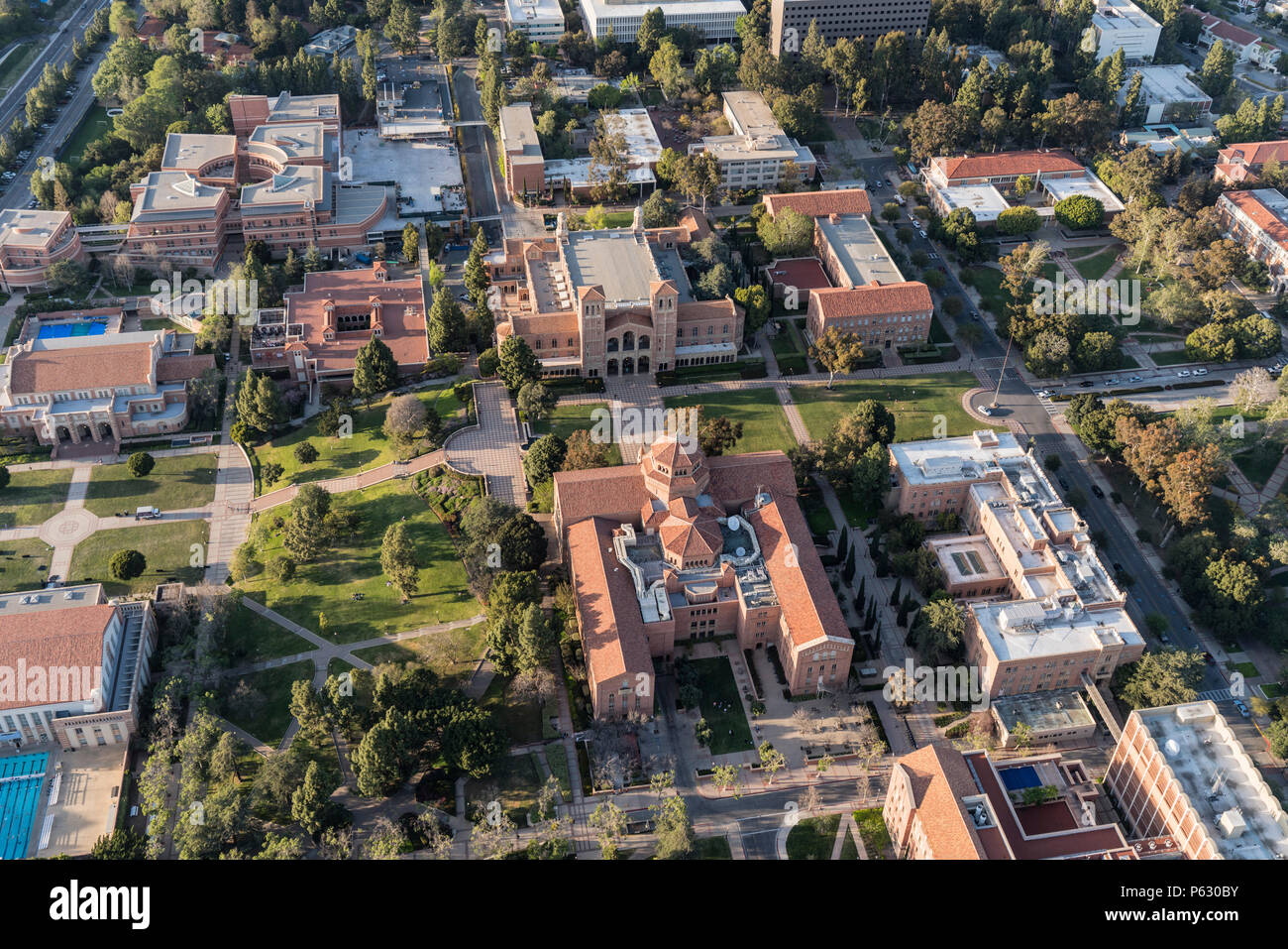 Los Angeles, California, USA - April 18, 2018:  Aerial overview of historic UCLA campus buildings near Westwood. - Stock Image