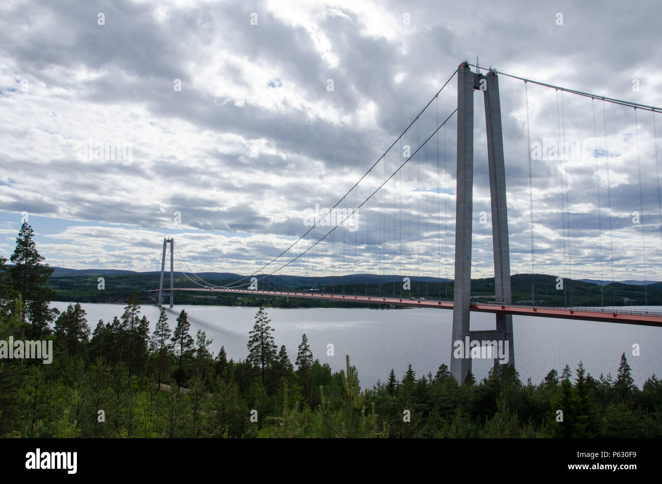 High coast, Sweden - 13 June 2018. The view from Hotel High coast of the bridge over the gulf of Bothnia on a slightly cloudy day - Stock Image