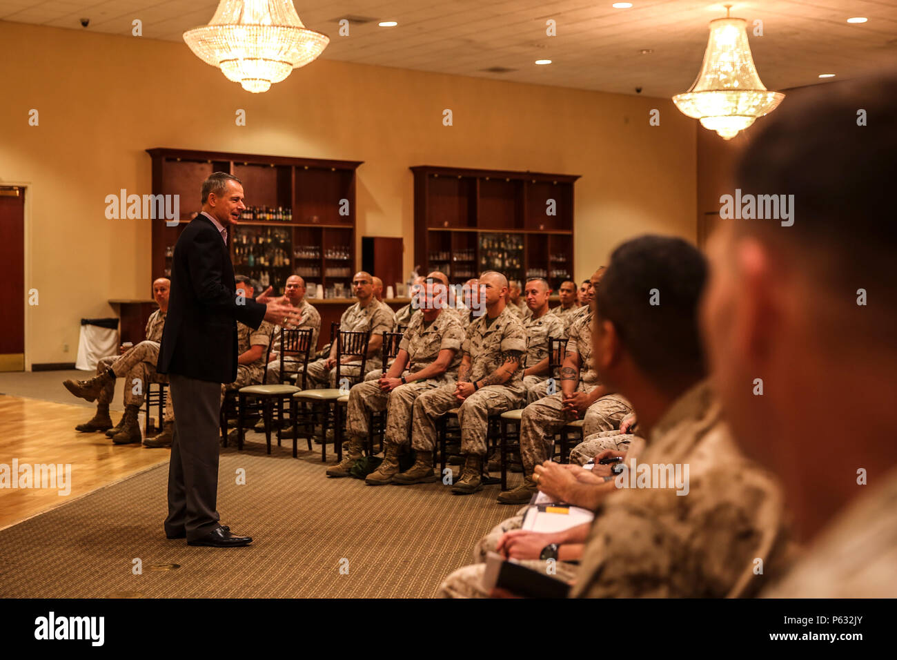 MARINE CORPS BASE CAMP PENDLETON, Calif. – Retired Gen. Peter Pace, former Chairman of the Joint Chiefs of Staff, addresses a room of senior enlisted Marines and sailors during an E-9 symposium at Camp Pendleton April 8, 2016. Pace was the guest speaker for the event and led participants on a guided discussion. During the conference, Marines broke into groups with each one discussing ethics, leadership development and styles, and ways to improve unit readiness. (U.S. Marine Corps photo by Sgt. Emmanuel Ramos/Released) - Stock Image