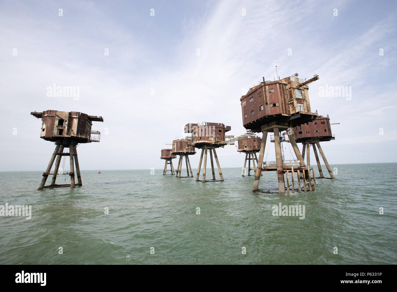 Maunsell Forts - Red Sands sea forts now abandoned - Stock Image