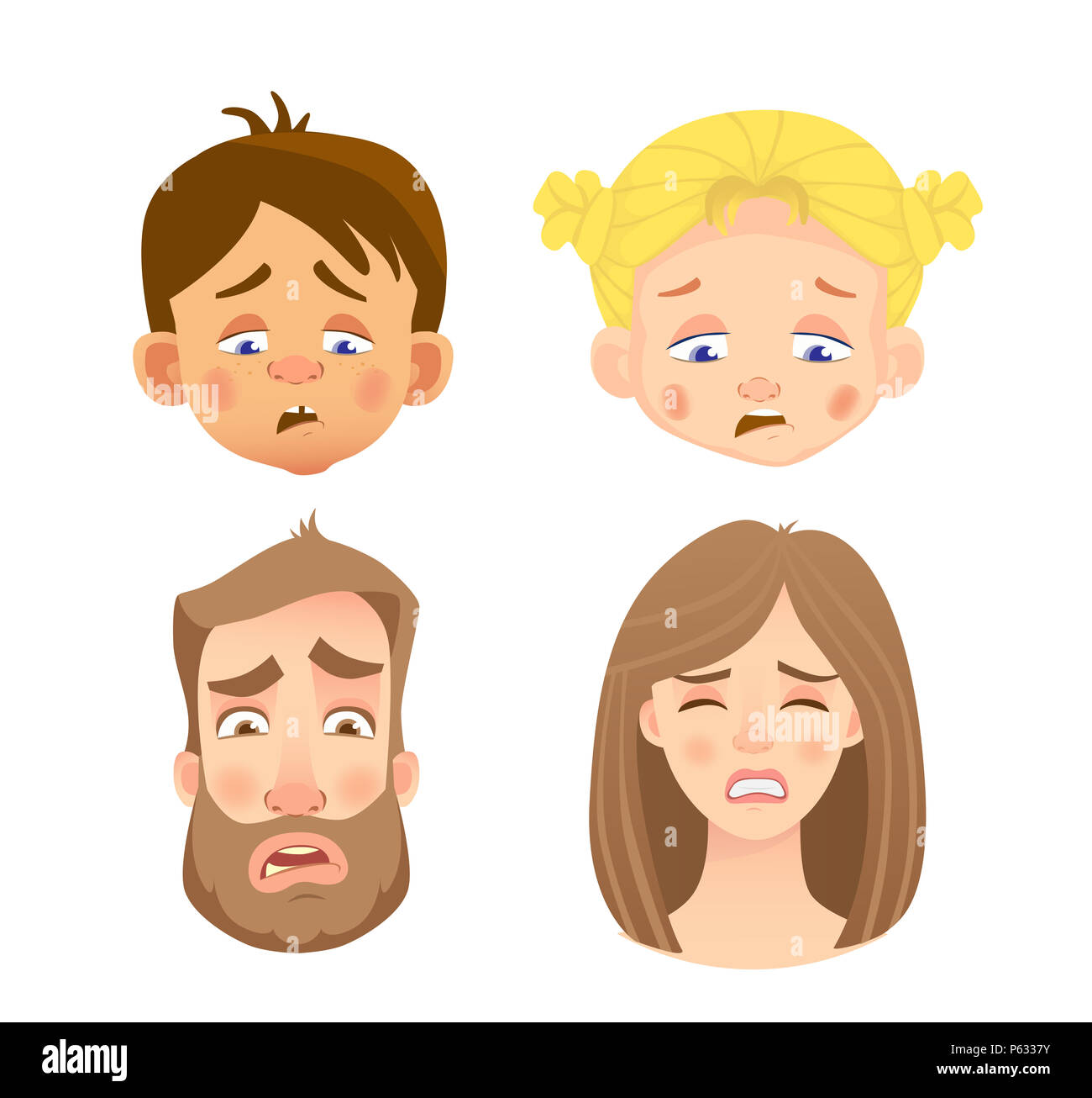 Emotions of human face. Set of human faces expressing emotions. Illustration - Stock Image