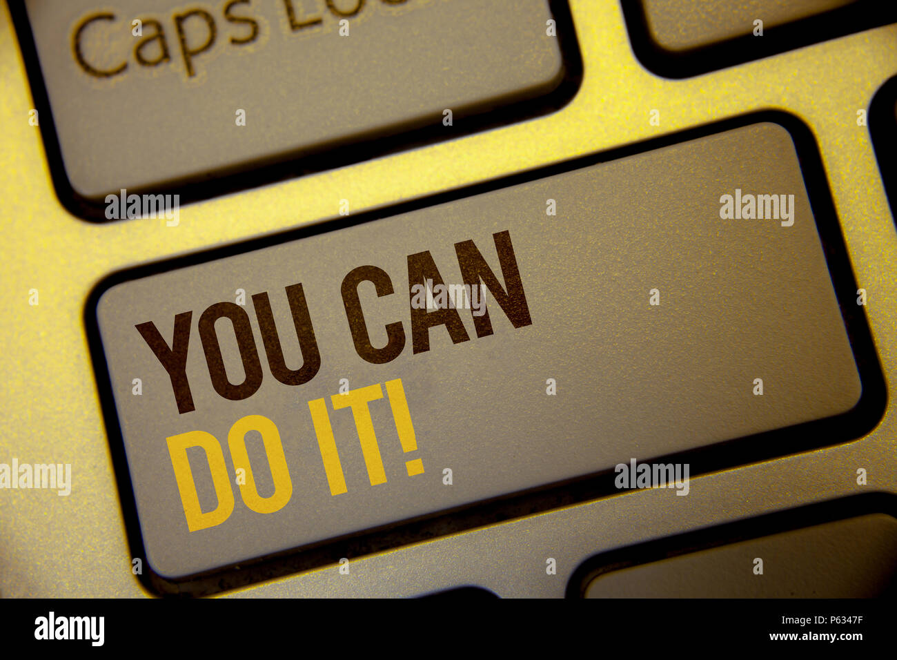 Handwriting text You Can Do It Motivational Call. Concept meaning Inspirational Message Motivational Positive Text two Words written Computer Keyboard - Stock Image