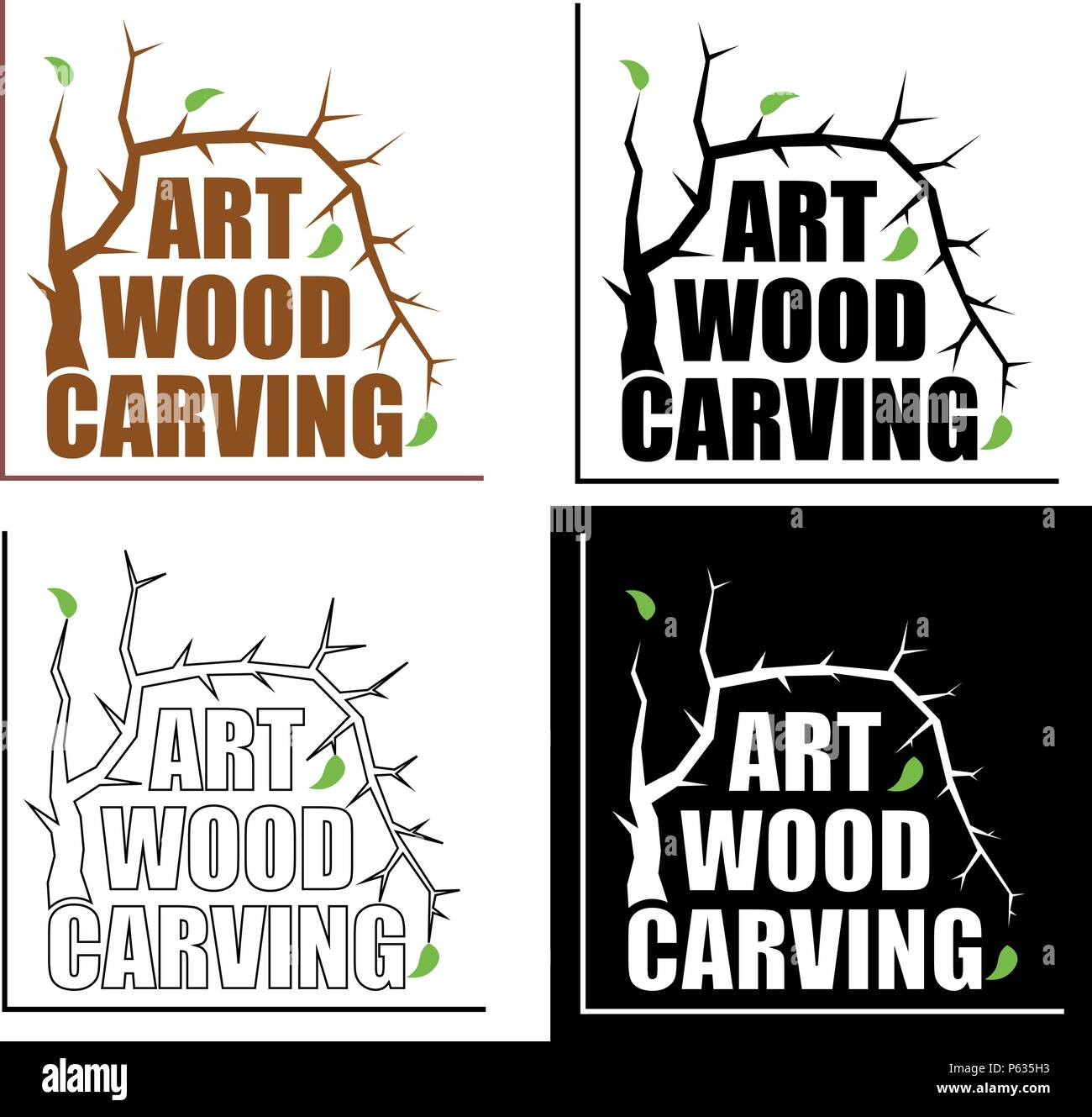 artistic wood carving with tree leaves Creative minimalist logo - Stock Vector