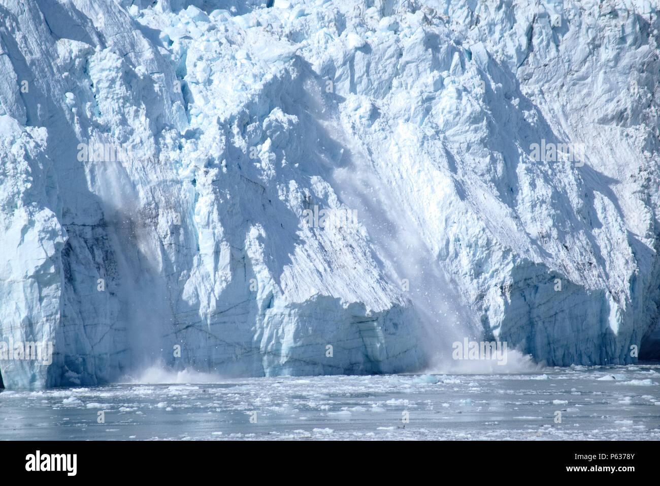 Calving at Glacier Bay, Alaska 2018 - Stock Image