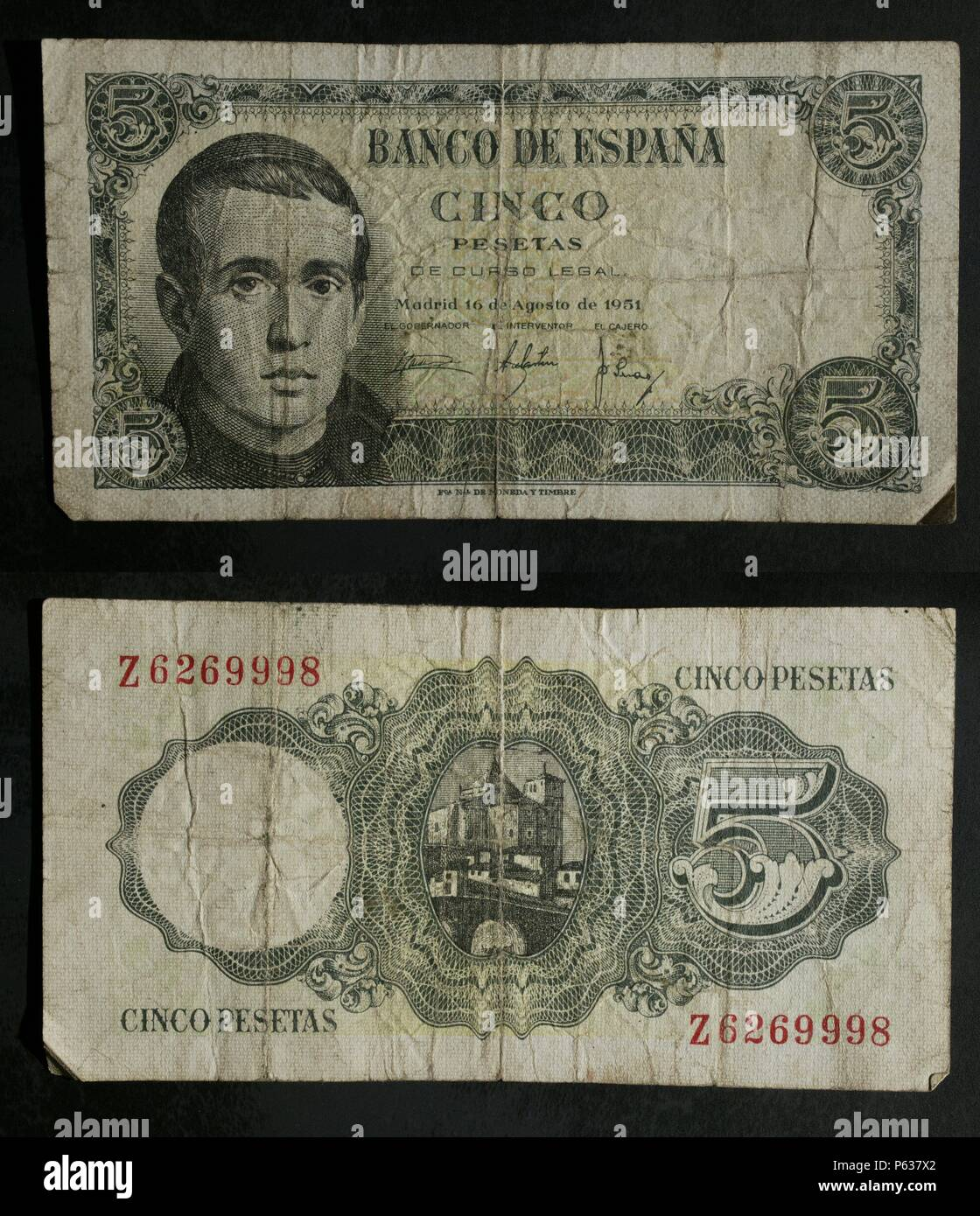 DINERO: BILLETE DE CINCO PESETAS DE 1951. ANVERSO: RETRATO DE JAIME BALMES. - Stock Image