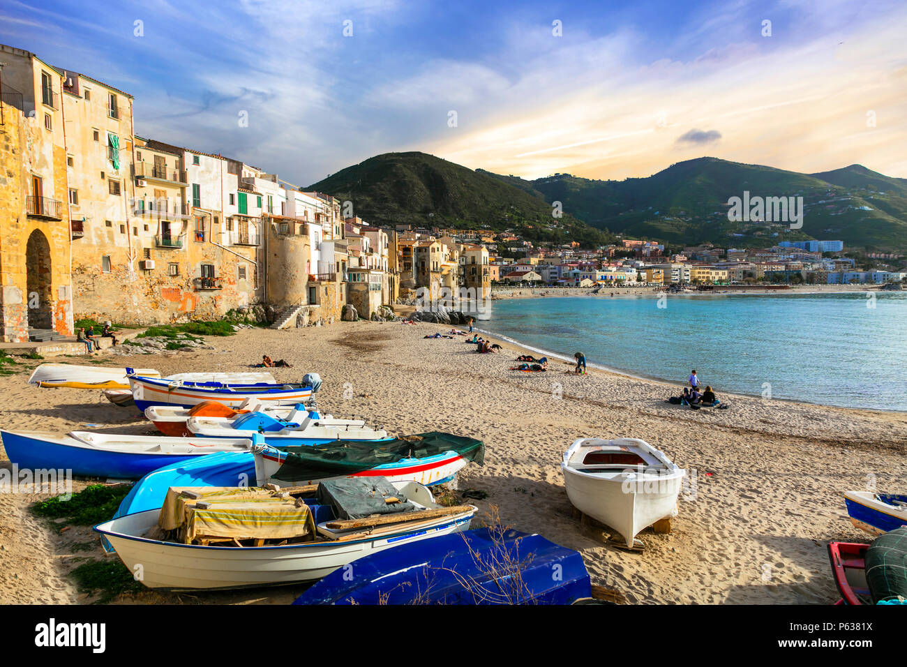 Traditional colorful houses In Cefalu' village over sunset,Sicily,Italy. - Stock Image