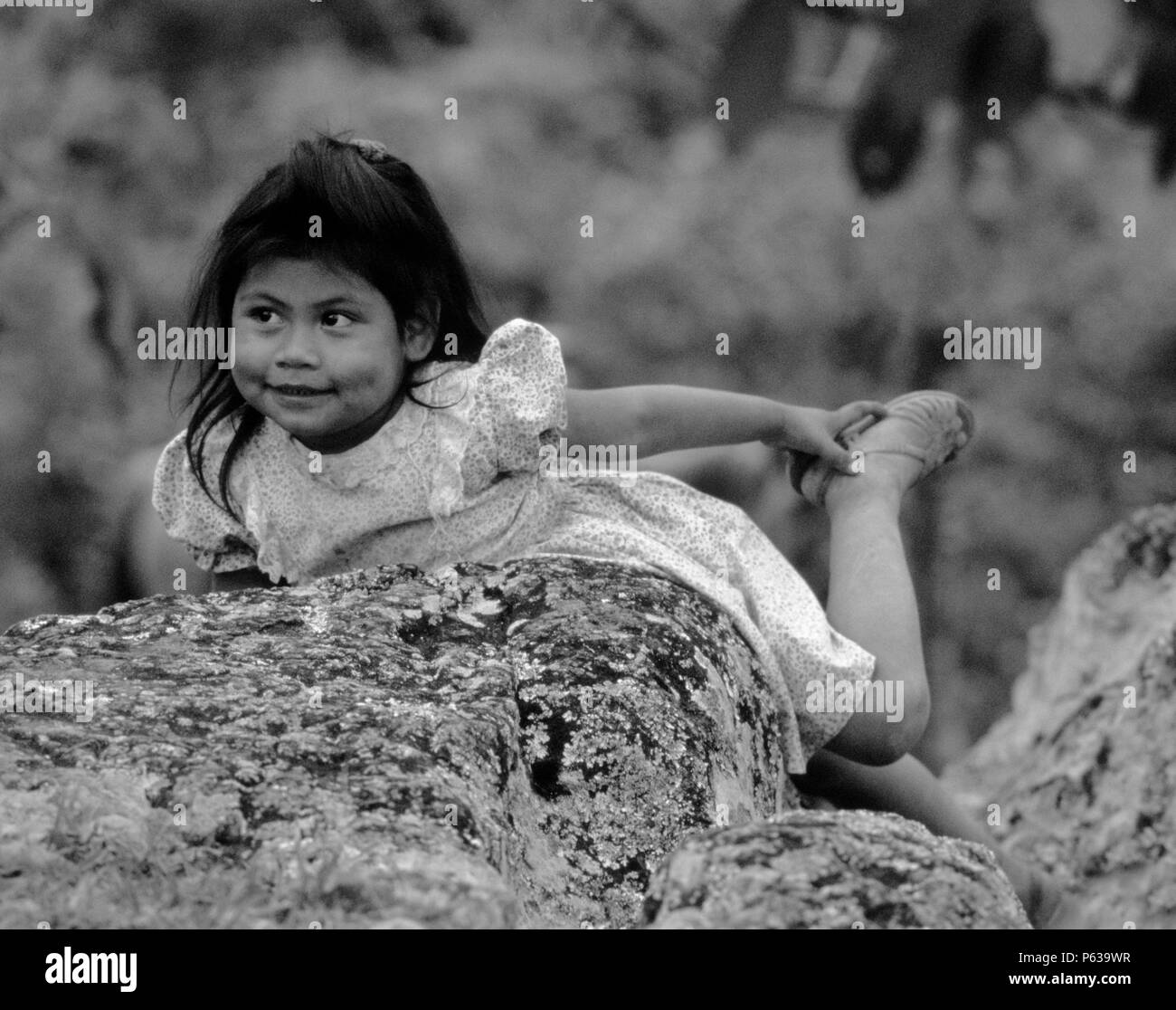 MAYAN GIRL in SANTA ROSA DE COPAN - HONDURAS Stock Photo