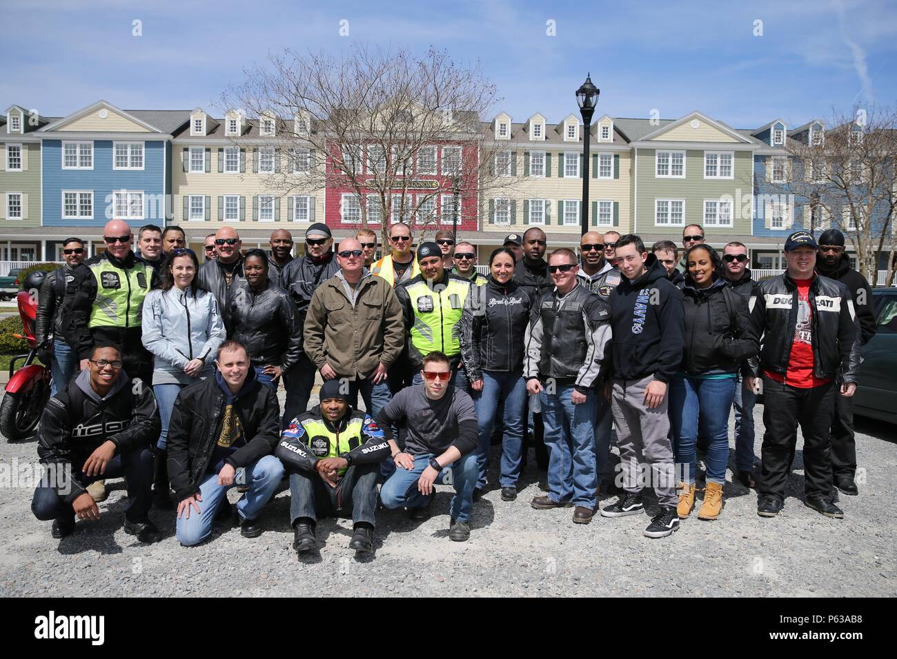 NEWPORT NEWS, Va. (Apr 15, 2016) -- Pre-Commissioning Unit Gerald R. Ford (CVN 78) Sailors pose  for a group photo upon the conclusion of their Annual Spring Ride.  Ford is the first of a new class of aircraft carriers currently under construction by Huntington Ingalls Newport News Shipbuilding.  (U.S. Navy photo by Mass Communication Specialist Seaman Apprentice Connor Loessin/Released) - Stock Image