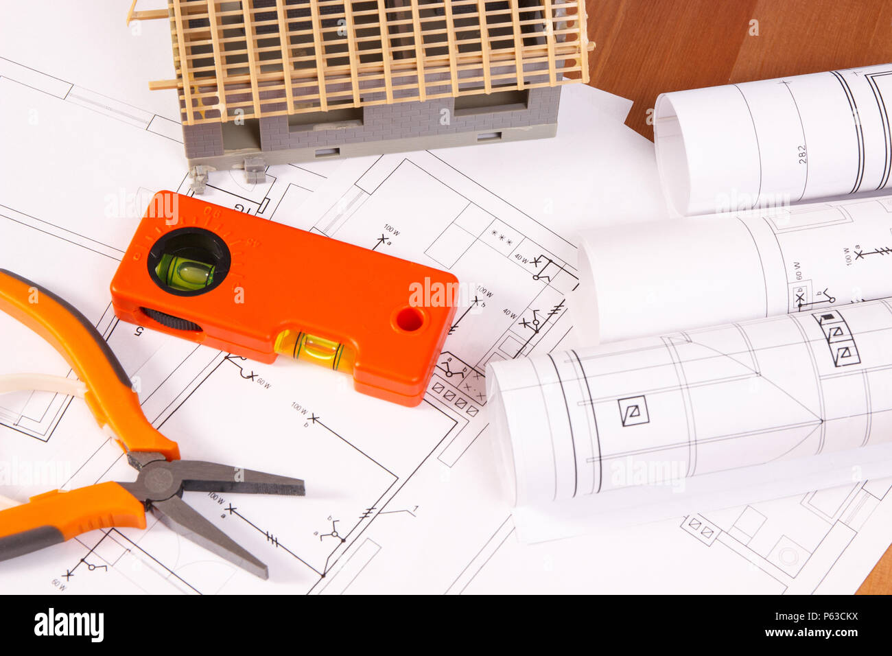 Electrical Drawings Or Diagrams Orange Work Tools For Engineer Jobs Diagram Building And House Under Construction Concept Of Home