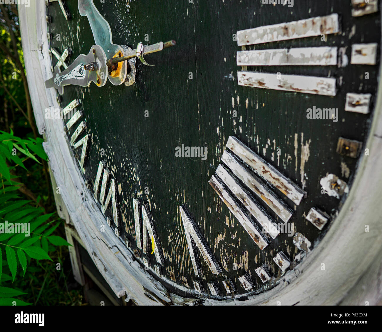 Abandoned building clock - Stock Image