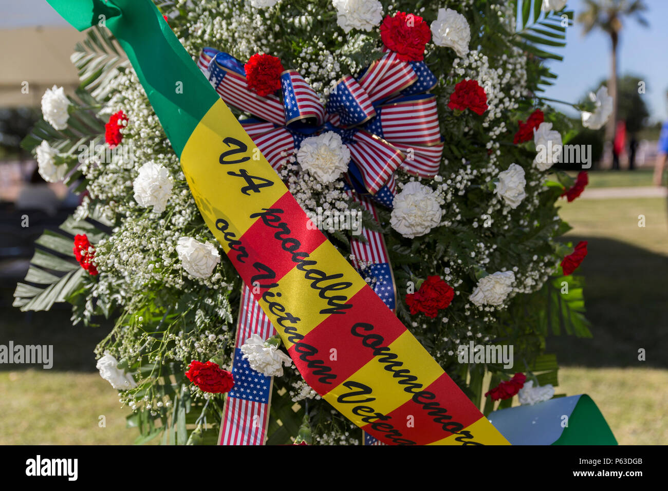 A wreath, commemorating the 50th anniversary of the Vietnam War, is