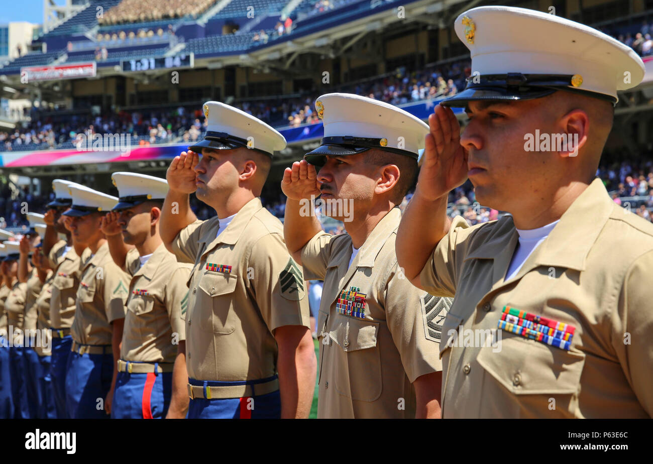 f5e2d7d4b Service members from the San Diego area participate in the opening ceremony  of the San Diego Padres game at Petco Park