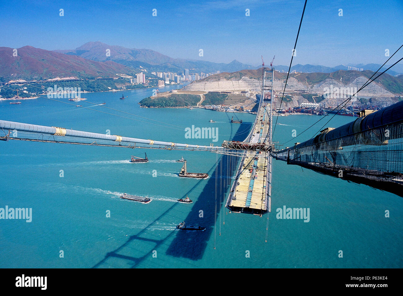 Tsing Ma suspension bridge. China. Constructed to link Hong Kong with Chek Lap Kok airport. - Stock Image