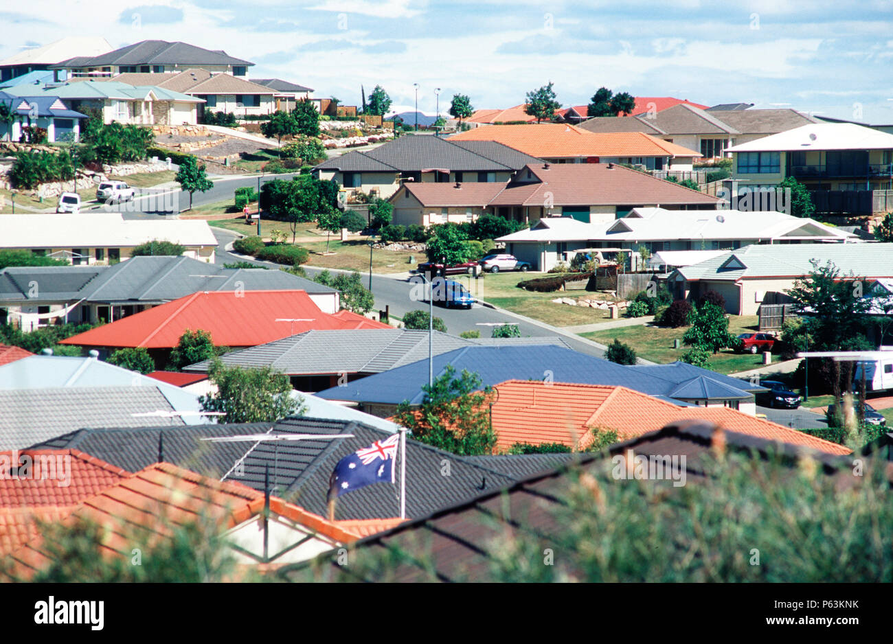 Housing area in a small town outside Brisbane, Queensland, Australia - Stock Image