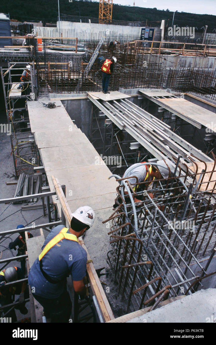 Fixing formwork for concreting Calgary Wastwater treatment plant Alberta, Canada Stock Photo