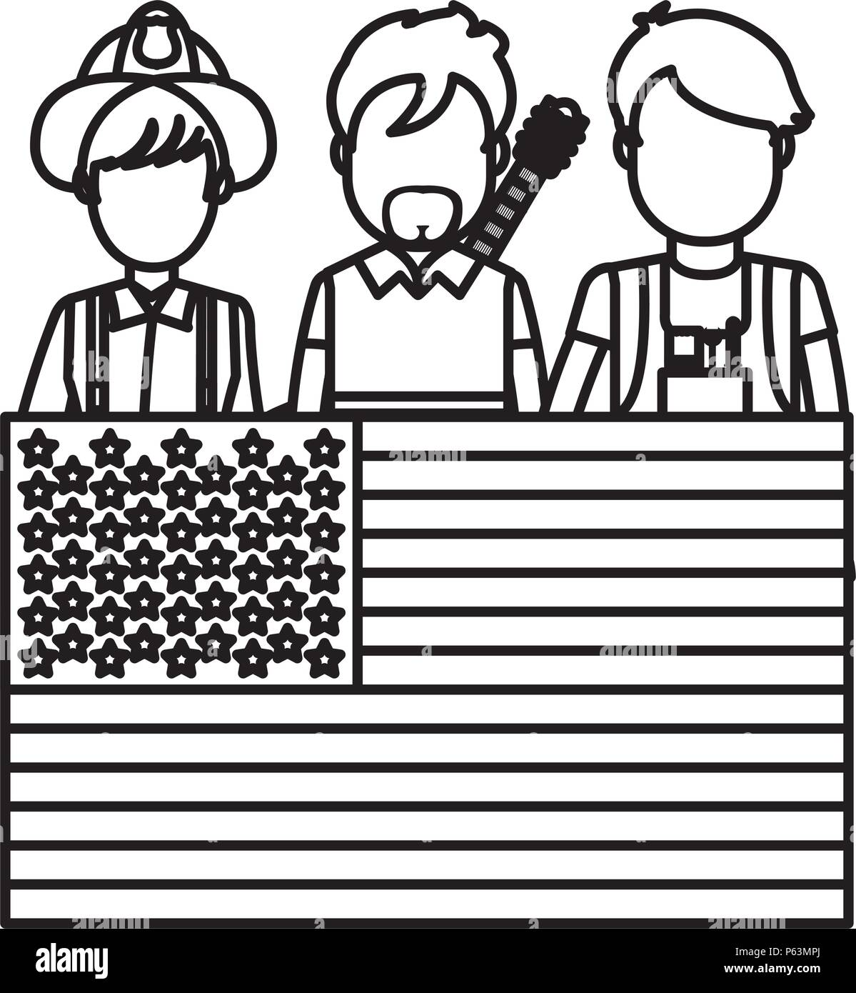 line professional people careers with usa flag vector illustration - Stock Vector