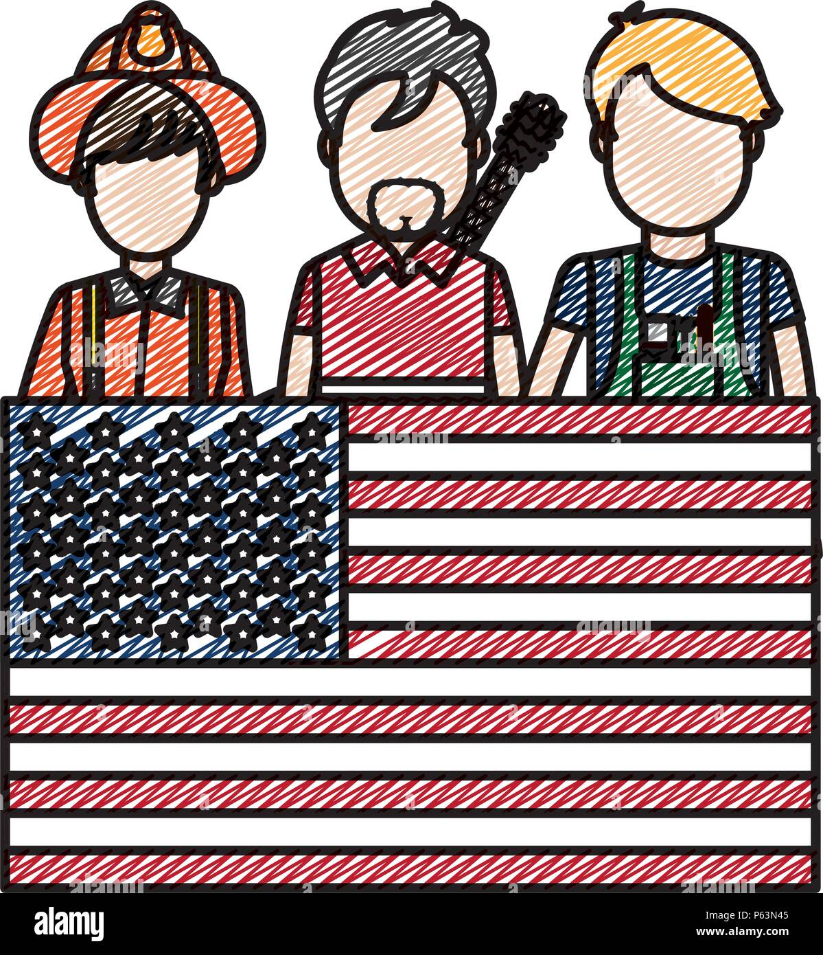 doodle professional people careers with usa flag vector illustration - Stock Vector