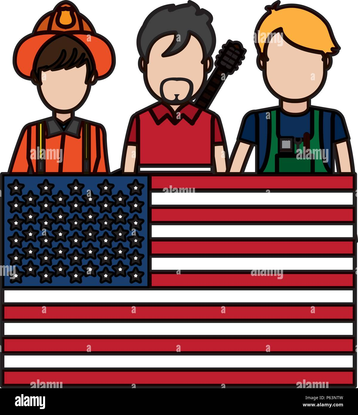 color professional people careers with usa flag vector illustration - Stock Vector
