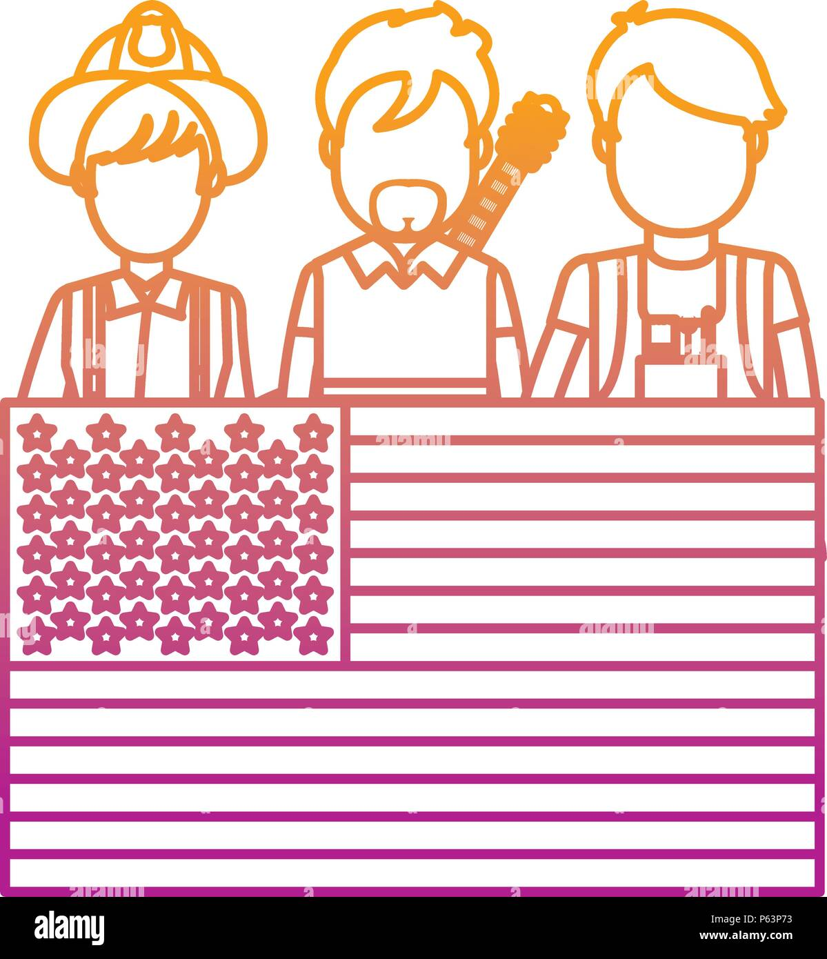 degraded line professional people careers with usa flag vector illustration - Stock Vector