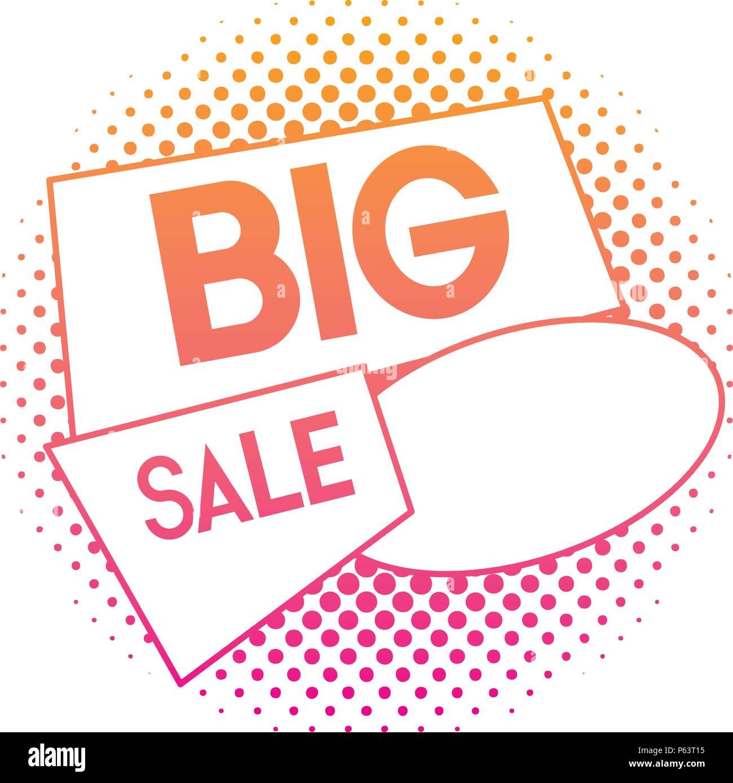 degraded line offer big sale price tag vector illustration