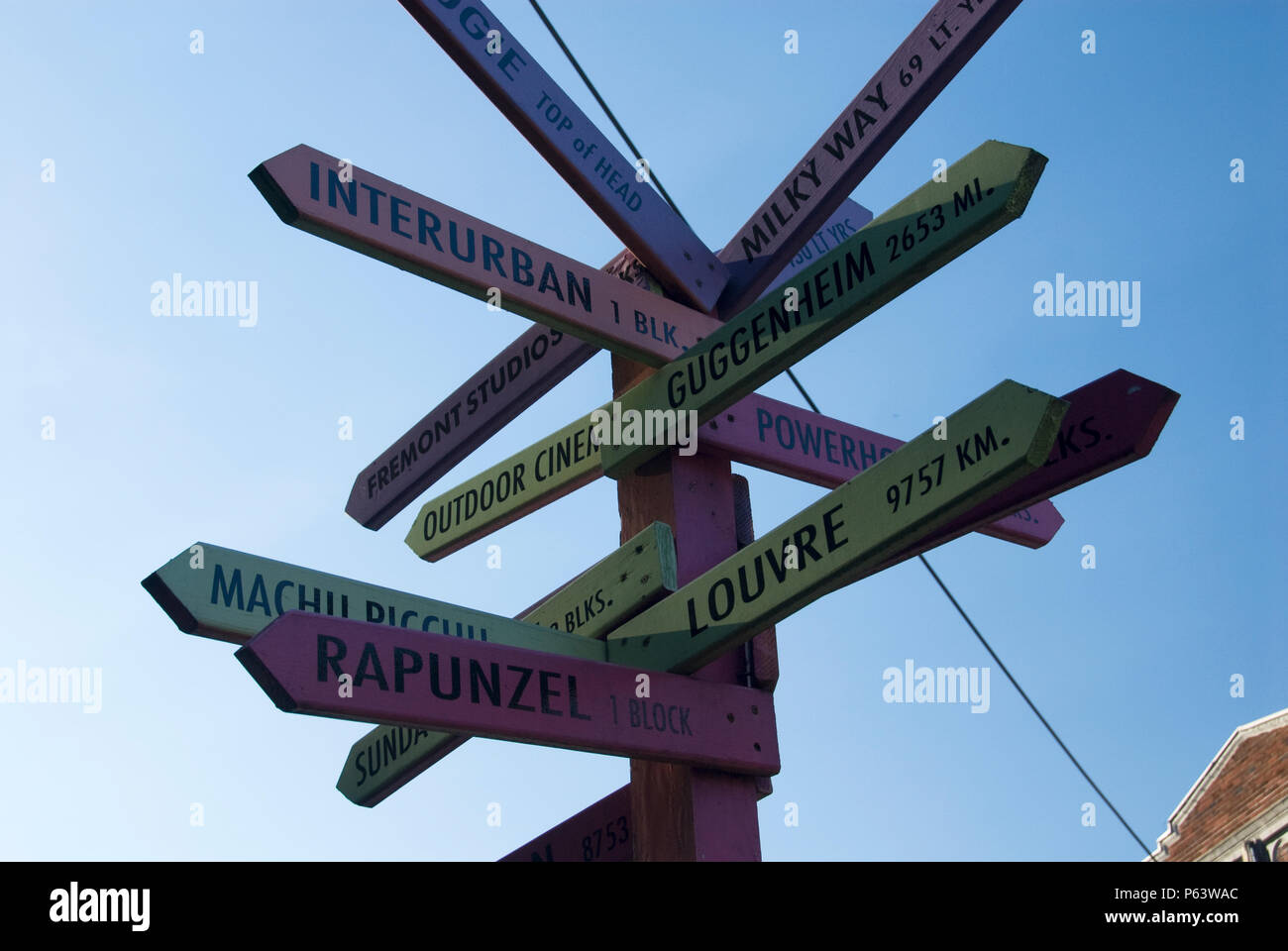 A directional sign shows the direction and distance to worldwide and