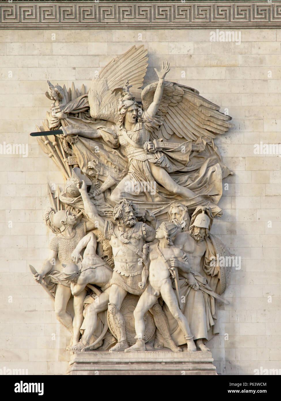 Bas relief stone Sculpture of `le depart` by antoine etex, detail of Arc de Triomphe, Paris Stock Photo