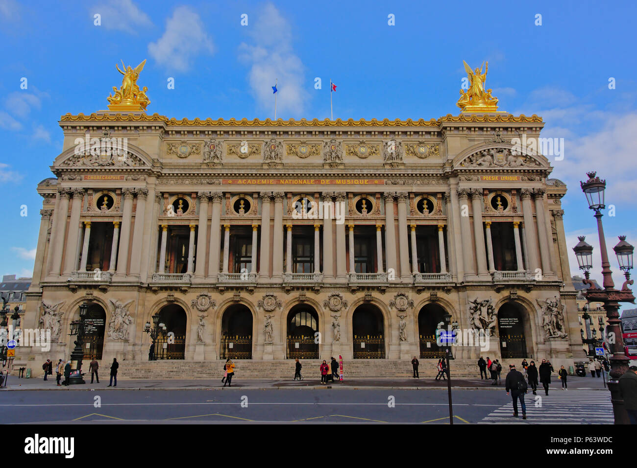 alais Garnier, ornate opera building with golden statues in Second-Empire Beaux-Arts style, Paris, France - Stock Image