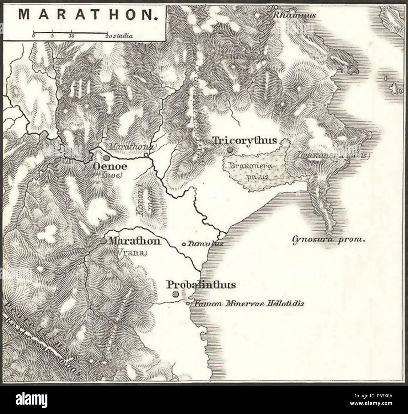 Marathon Greece Map on