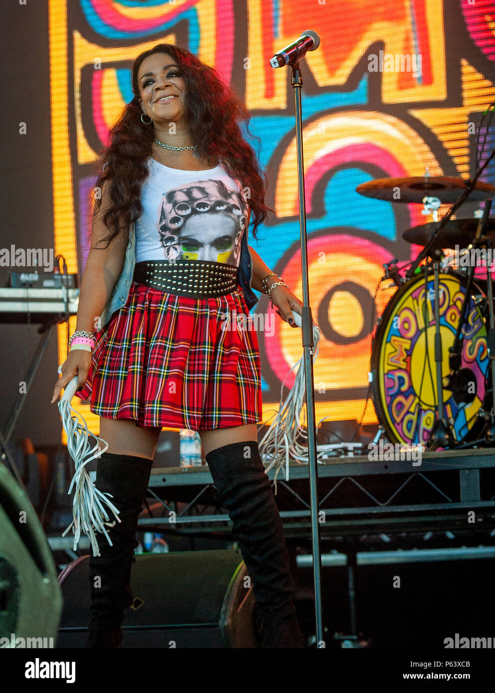 Rowetta of The Happy Mondays performing live on stage at the Sunday Sessions, Dalkeith, Edinburgh, Scotland on 24th June 2018 at  : Photo Credit Marti - Stock Image