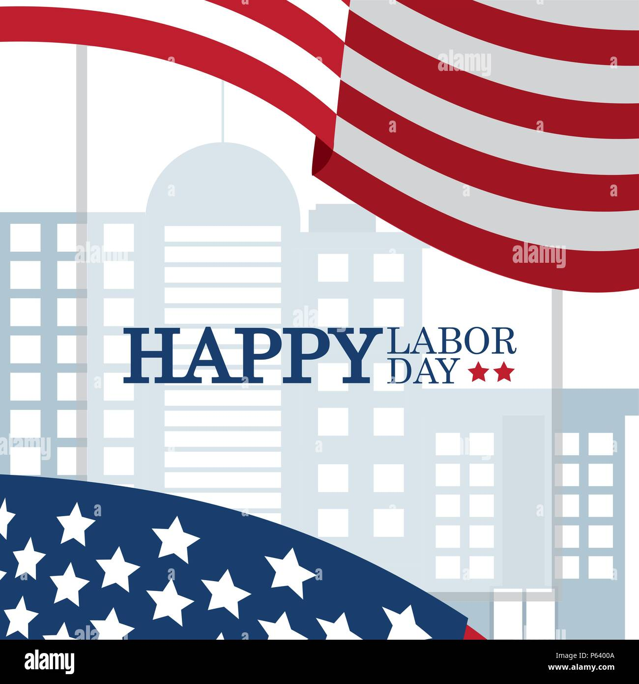 Labor Day Over Cityscape And Usa Flags Vector Illustration Graphic