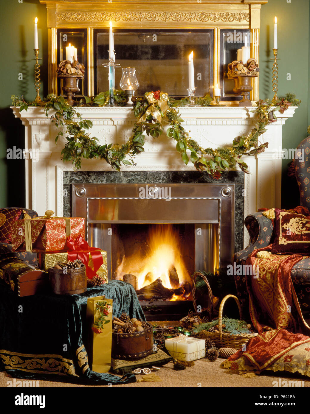 Fireplace With Lighted Firen And Mantlepiece With Lighted Candles