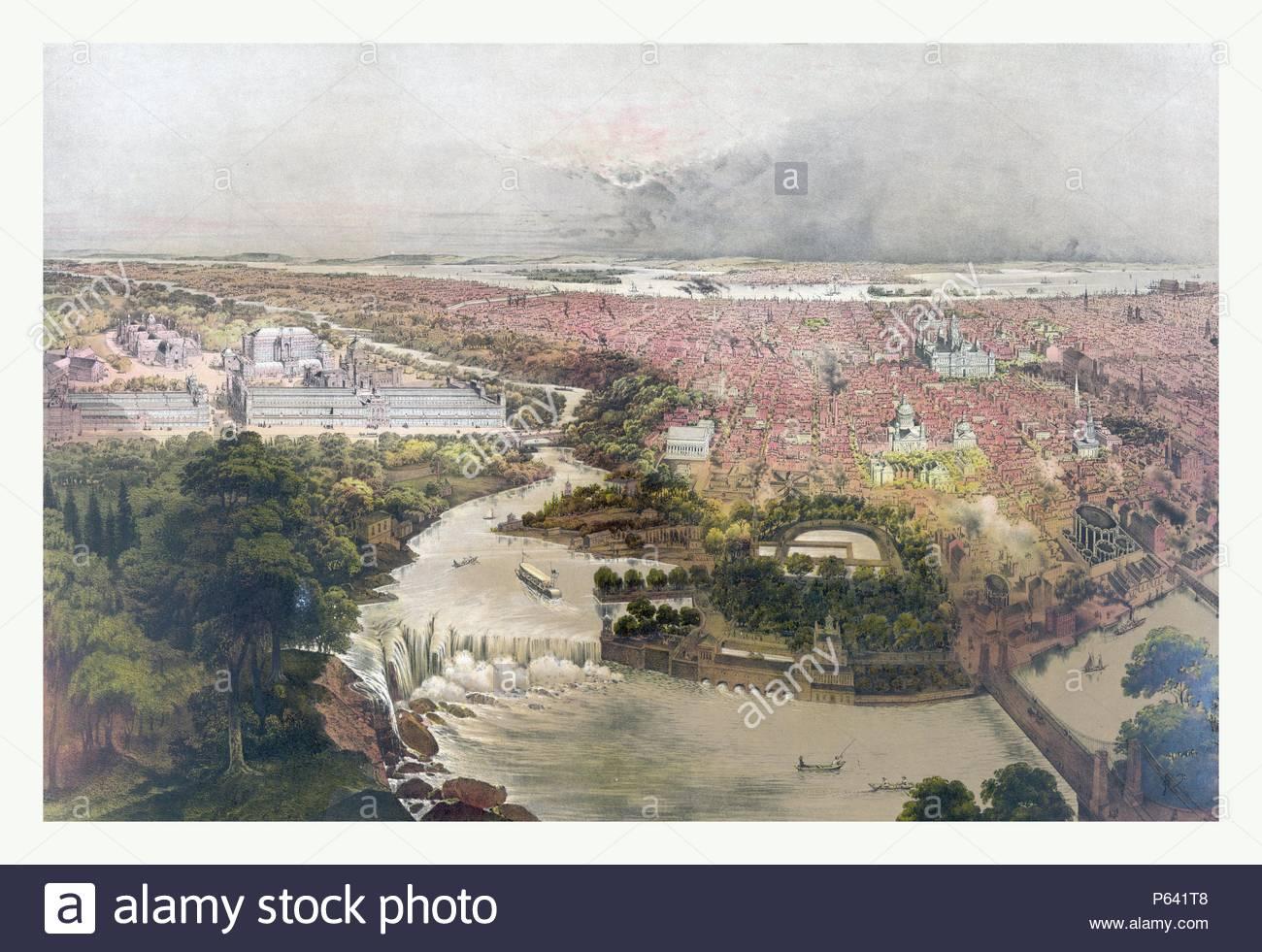 Birds eye view of Philadelphia & centennial grounds by John Bachmann,circa 1875, US, USA, America. - Stock Image