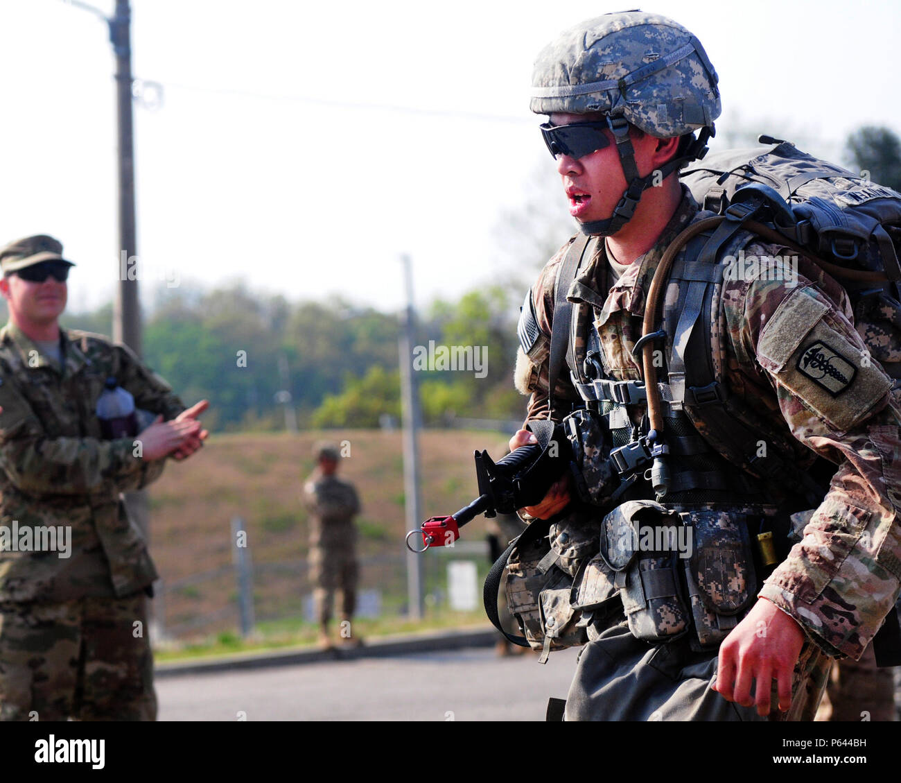 2nd Lt Huy Nguyen 65th Medical Brigade Completes The Final Portion Of 12 Mile Ruck March At Warrior Base Near Panmunjeom South Korea Apr 292016