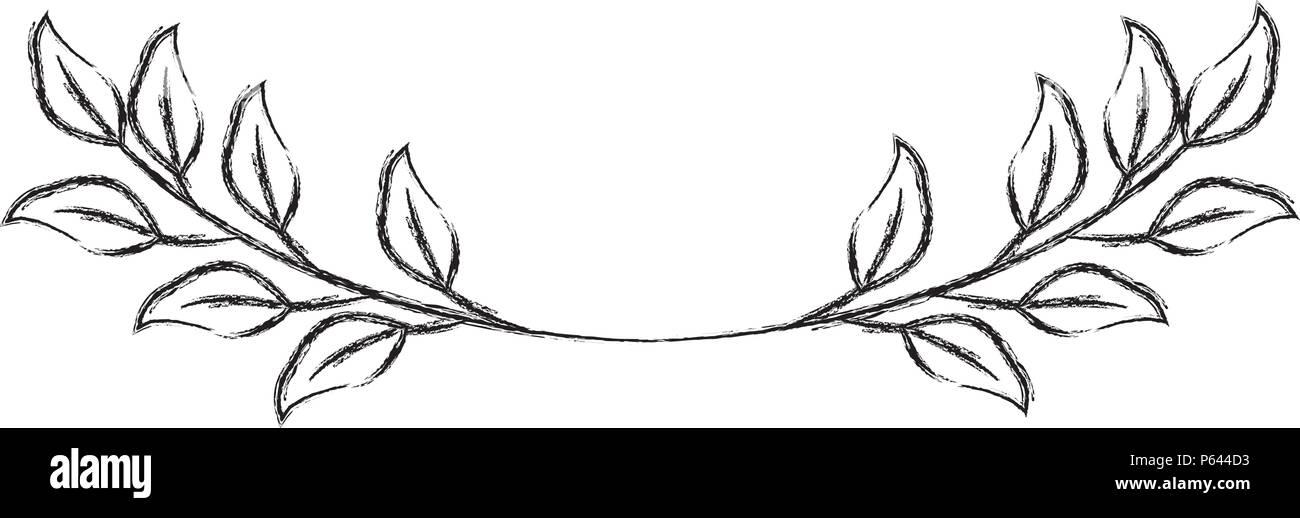 branch foliage leaves natural botanical vector illustration sketch - Stock Image