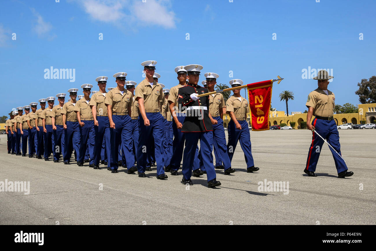 Marines From Golf Company 2nd Recruit Training Battalion March Across The Parade Deck During A Graduation