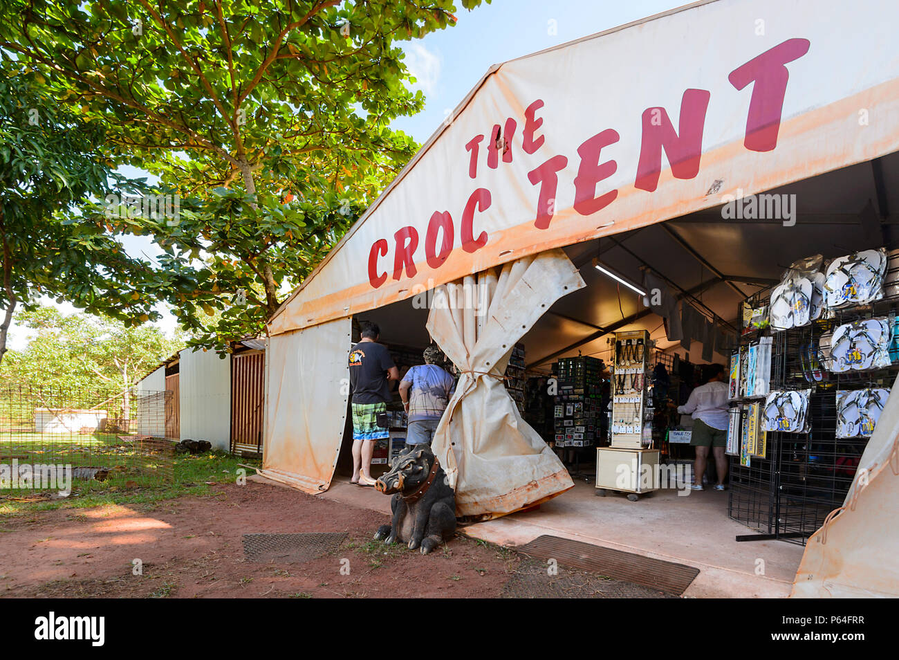 The Croc Tent, a souvenir shop and tourist attraction on Cape York Peninsula, Far North Queensland, FNQ, QLD, Australia - Stock Image