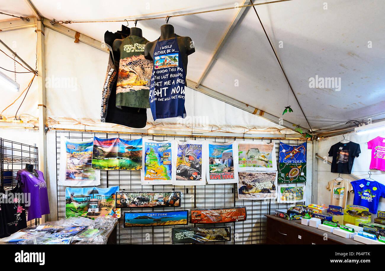 Souvenirs inside the Croc Tent, a tourist attraction on Cape York Peninsula, Far North Queensland, FNQ, QLD, Australia - Stock Image