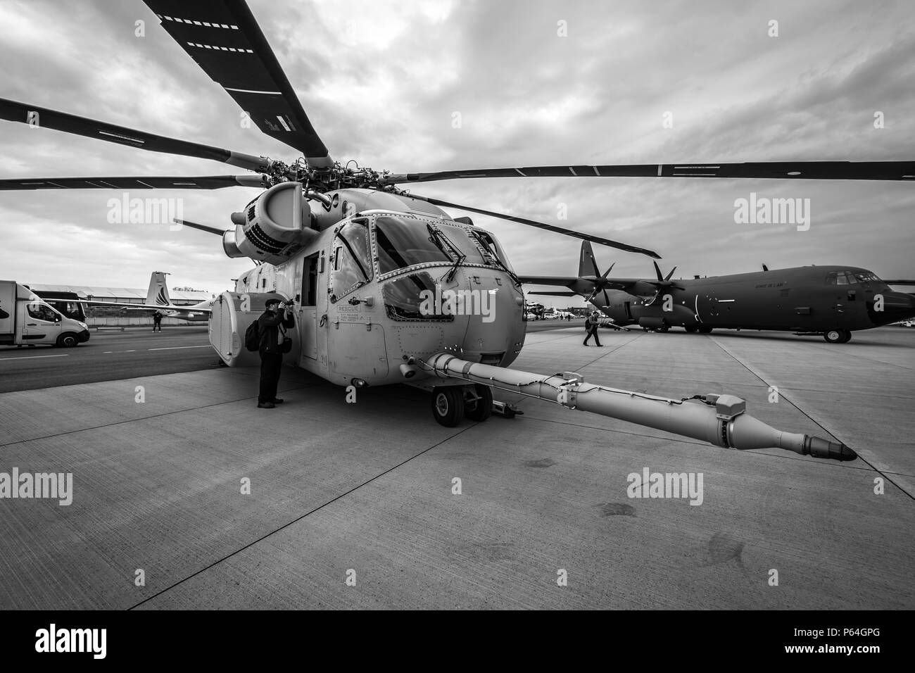 Heavy-lift cargo helicopter Sikorsky CH-53K King Stallion by United States Marine Corps on the airfield. Exhibition ILA Berlin Air Show 2018 - Stock Image