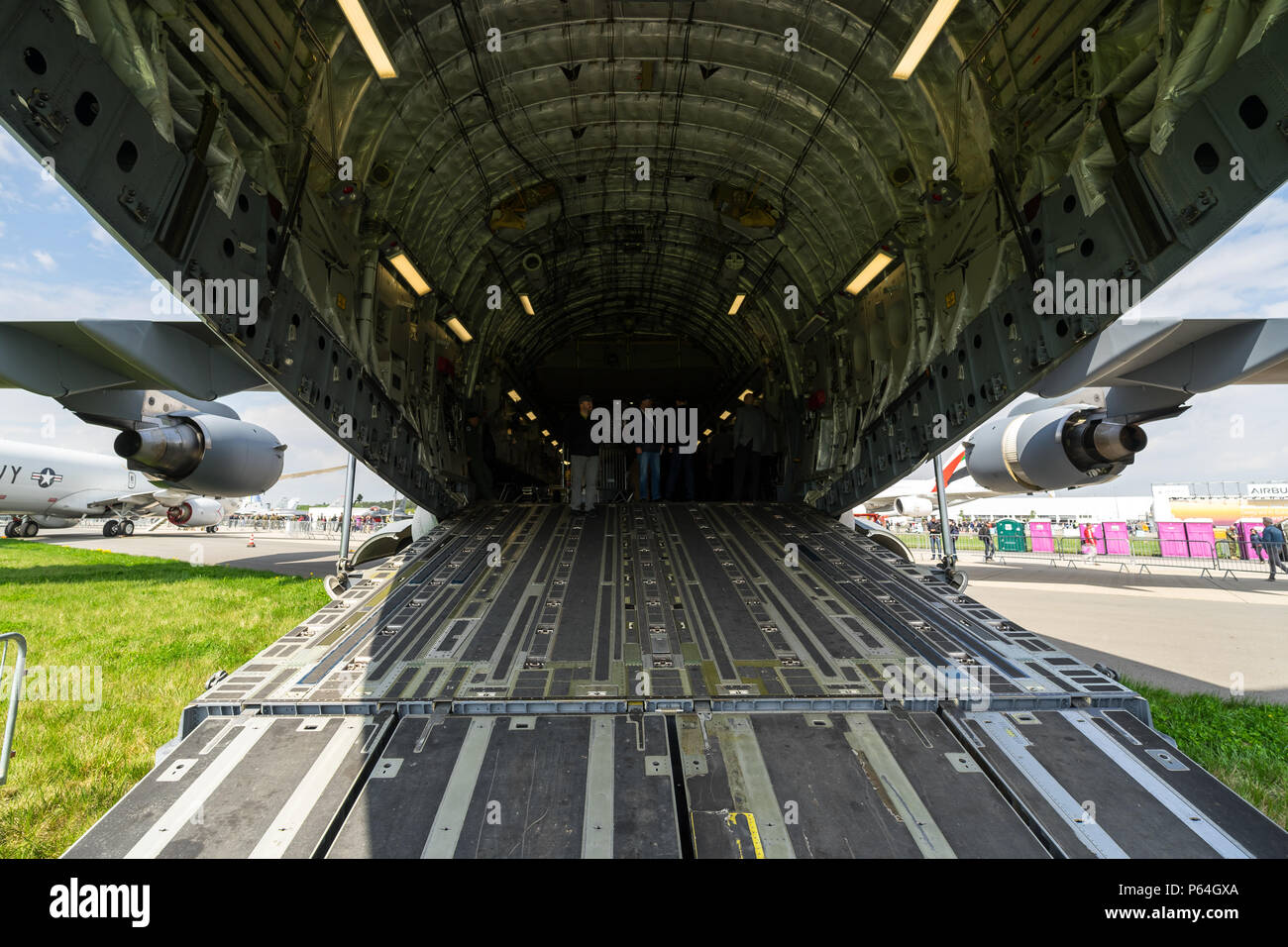 The cargo compartment of the strategic and tactical airlifter Boeing C-17 Globemaster III. Exhibition ILA Berlin Air Show 2018. - Stock Image