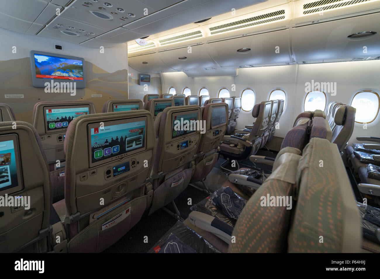 Berlin April 26 2018 Interior Of An Economy Class Of The World S