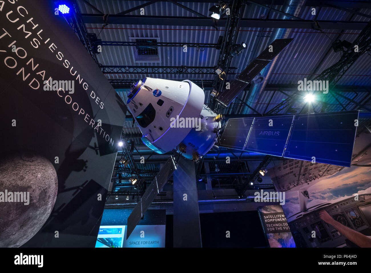 Space Pavilion. Mockup of the European Service Module (ESM), one of the component of the Orion spacecraft. Exhibition ILA Berlin Air Show 2018 - Stock Image