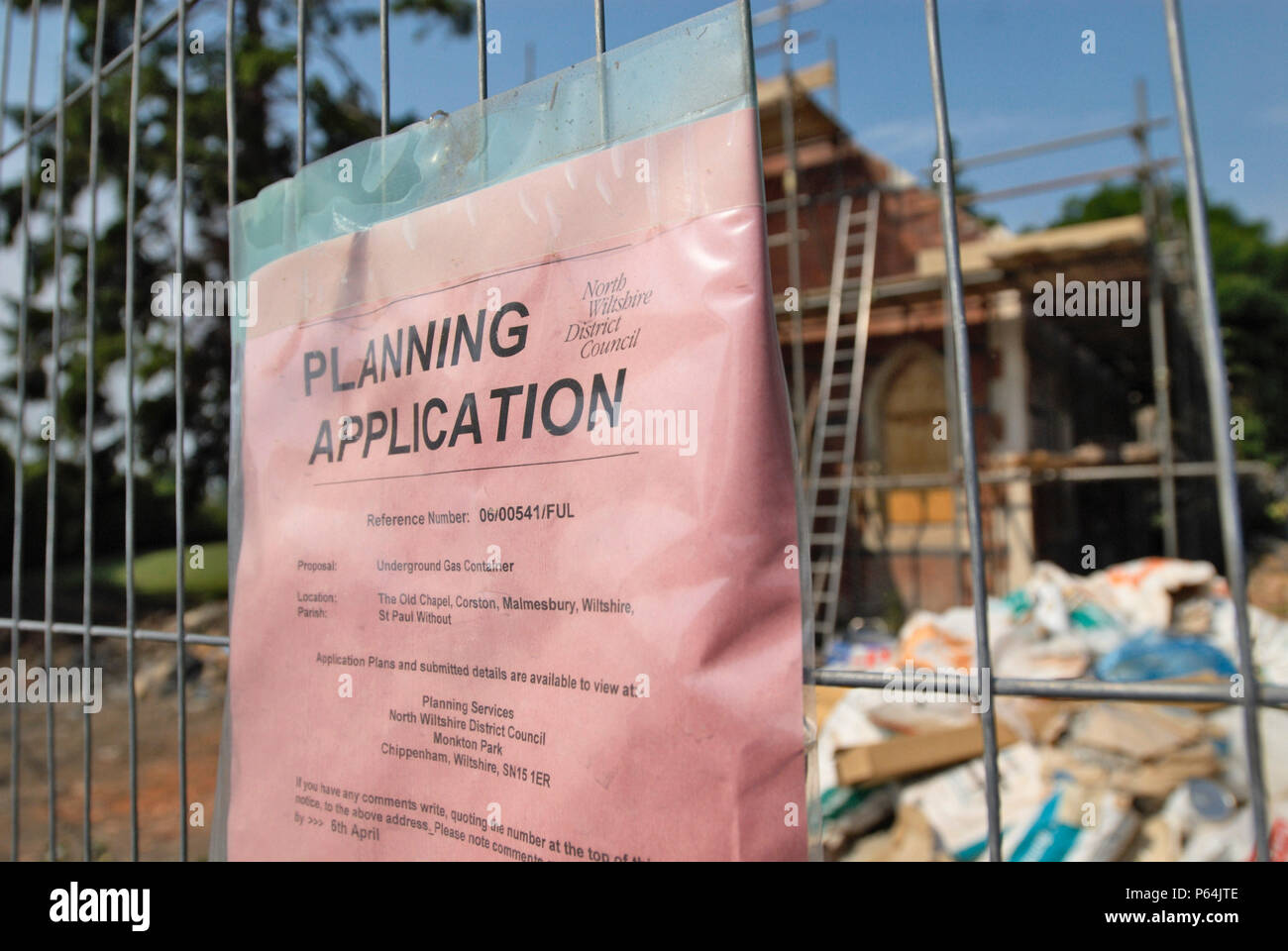 Planning Application sign for Chapel Conversion, UK - Stock Image