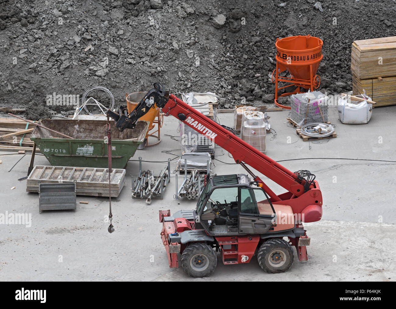 telescopic loader on a construction site Stock Photo